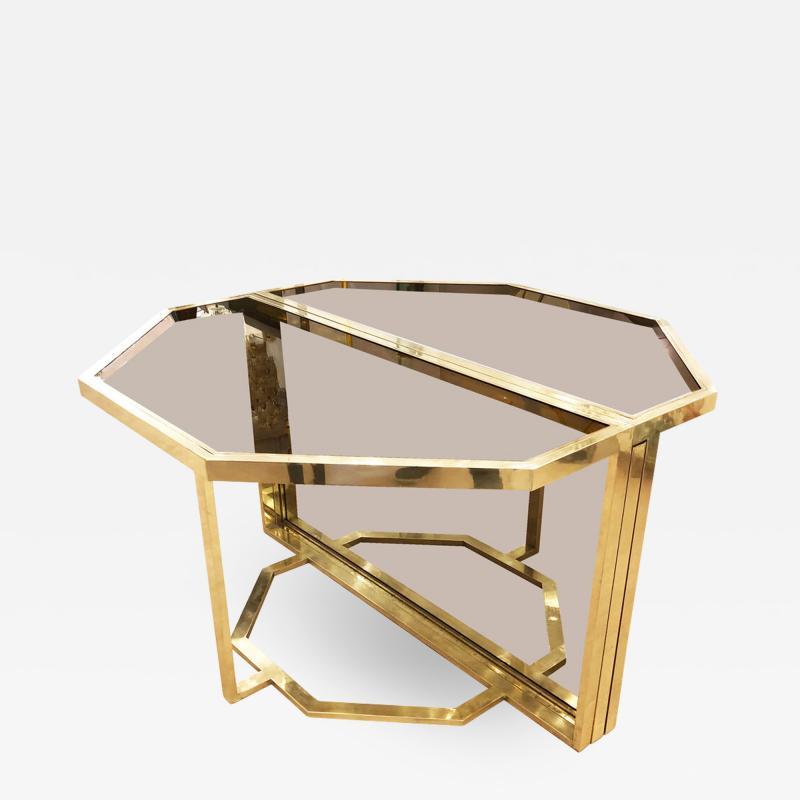 Romeo Rega Extending Brass and Glass Table by Romeo Rega Italy 1960s