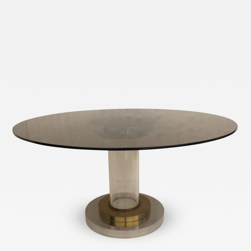 Romeo Rega Lucite and Brass Dining Center Table by Romeo Rega
