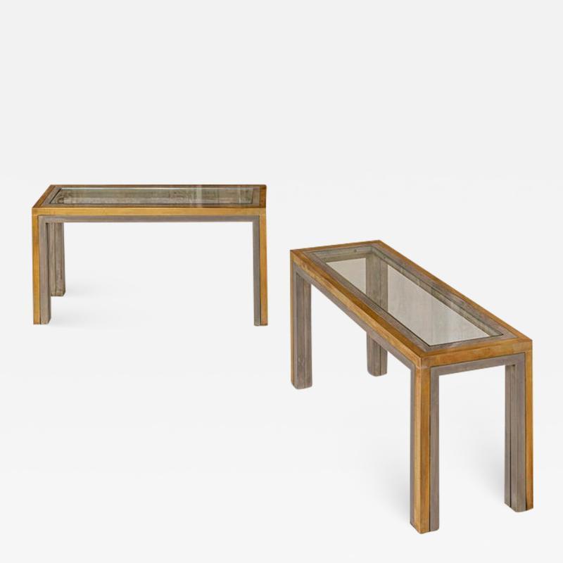 Romeo Rega Pair of Brass and Chrome Low Tables Attributed to Romeo Rega