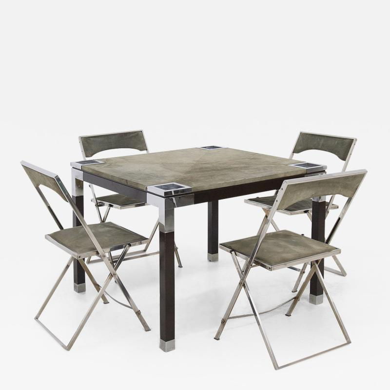 Romeo Rega Rare set play table by Romeo Rega in green alcantara leather signature 60