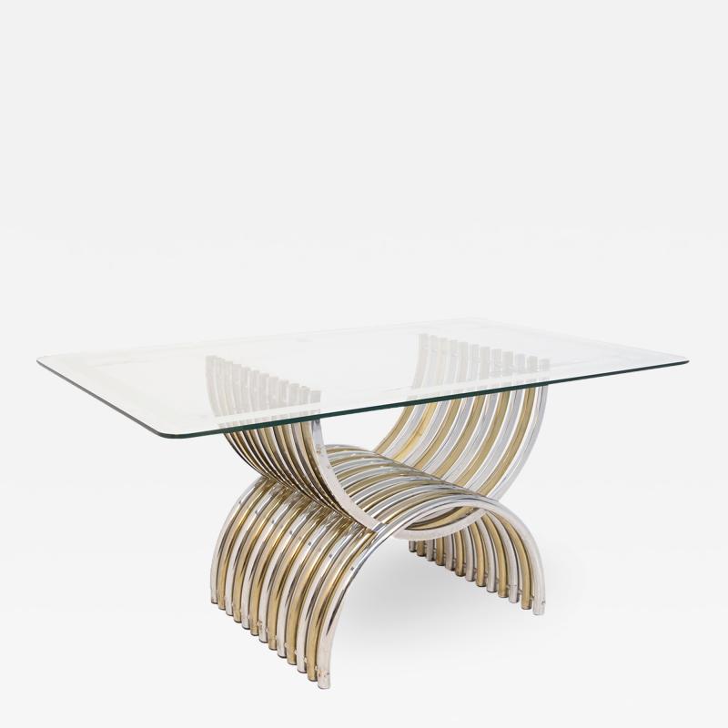 Romeo Rega Romeo Rega Dining Table in Chromed and Brassed Steel with Glass