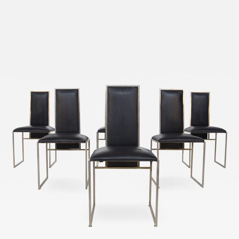 Romeo Rega Romeo Rega Six Dining Chairs in Black Leather and Steel