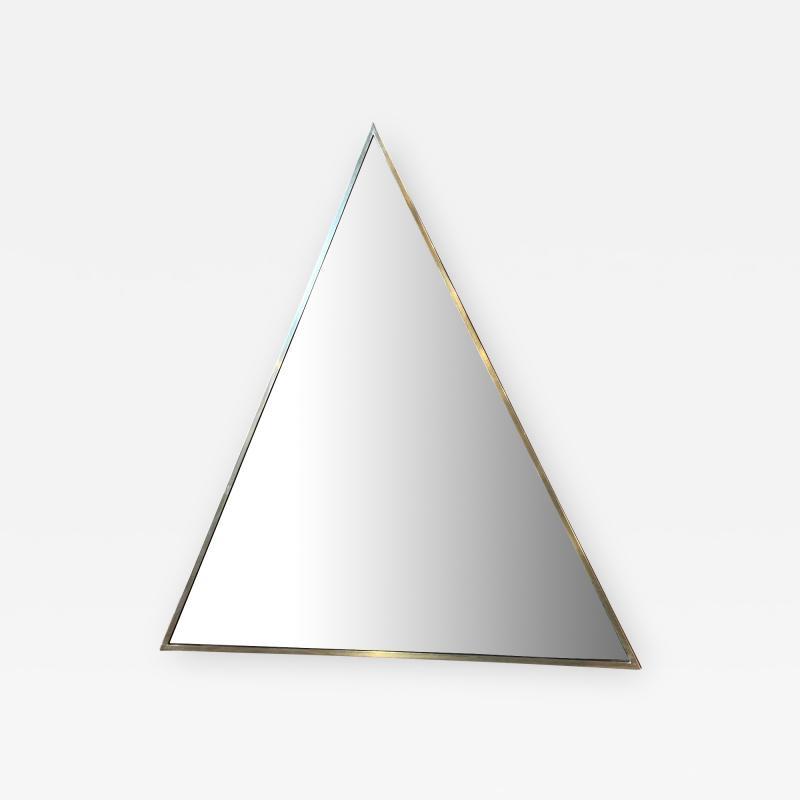 Romeo Rega Triangular Steel Framed Mirror by Romeo Rega Nazaret Italy 1970s