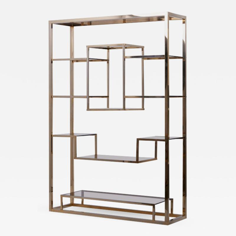 Romeo Rega Very Huge Brass and Tinted Glass Bookshelf or tag re by Romeo Rega