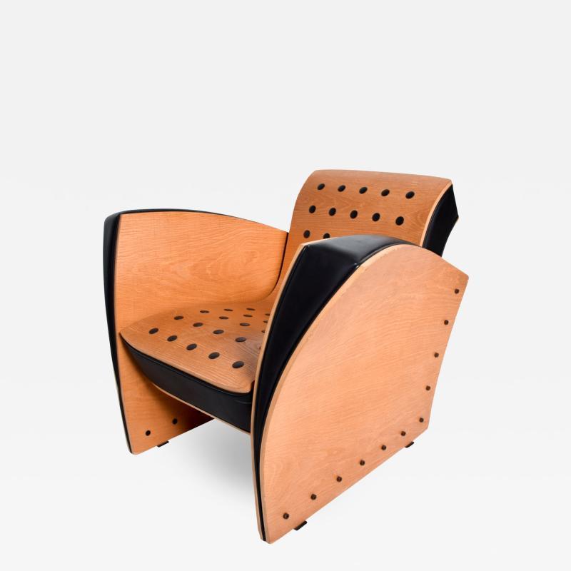 Ron Arad Ron Arad Fauteuil Rubber Crust Beech Black Arm Chair Contemporary Modern 1980s