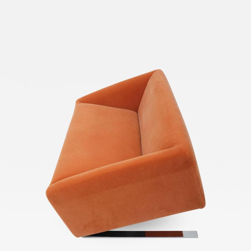 Ron Arad Tilt Sofa in Orange Mohair Circa 1980