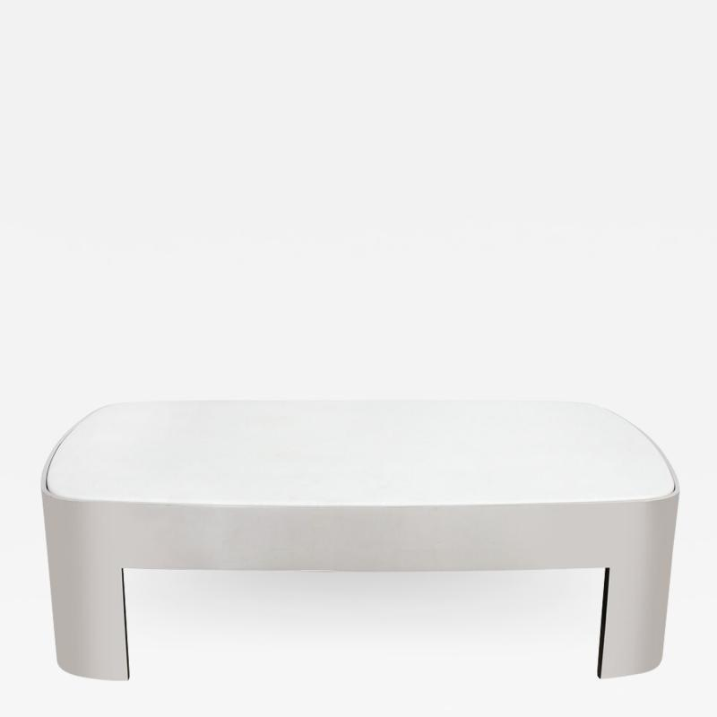 Ron Seff Mid Century Modern Polished Chrome White Granite Cocktail Table by Ron Seff
