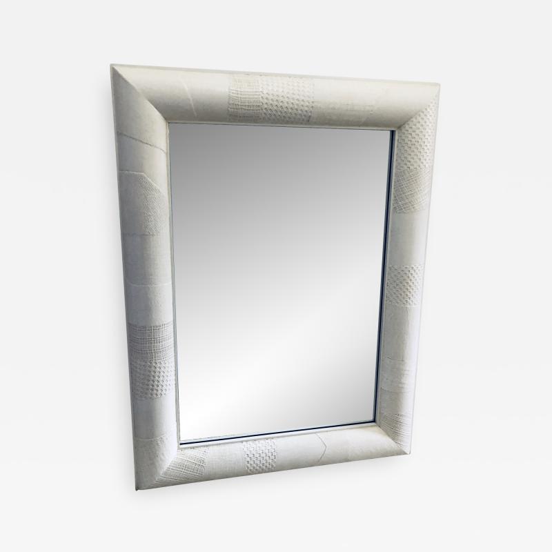 Ron Seff Ron Seff Linen ans woven fabric White Lacquered Mirror