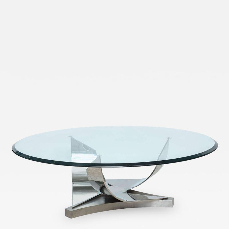 Ron Seff Ron Seff Polished Chrome and Stainless Steel Glass Top Low Table