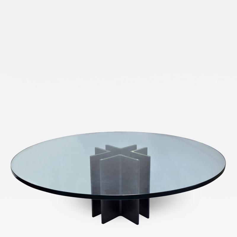 Ronald Schmitt Ronald Schmitt Coffee Table in Black Steel with Glass Top 1970s
