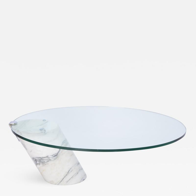 Ronald Schmitt White Marble and Glass Coffee Table Model K1000 by Team Form for Ronald Schmitt