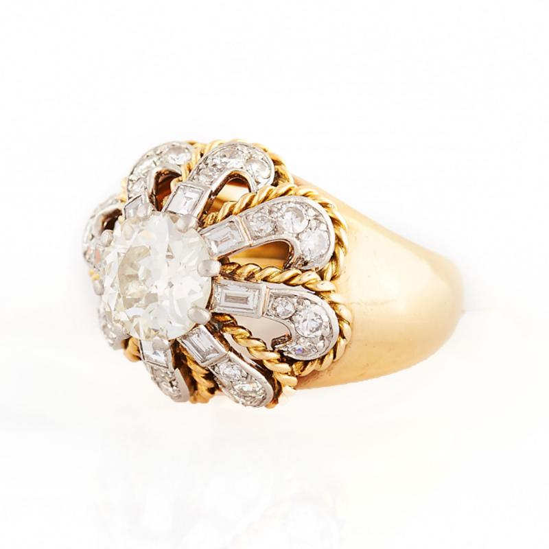 Rope Swirl Dome Shaped Gold and Diamond Ring