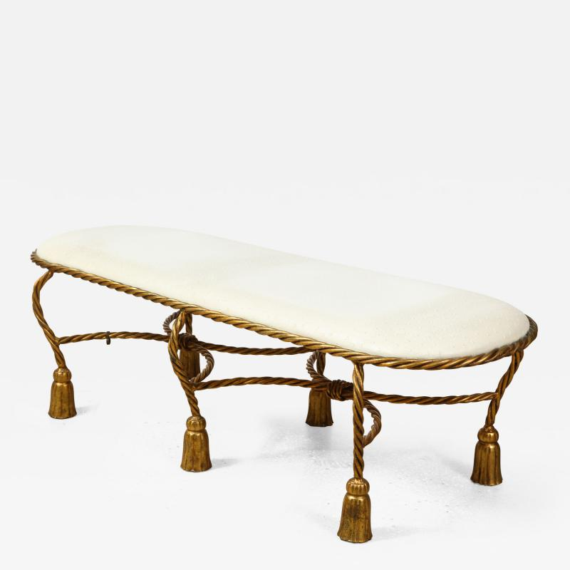 Rope and Tassel Upholstered Gilt Metal Bench