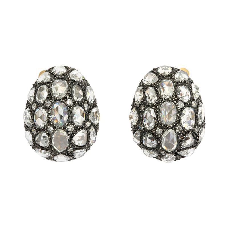 Rose Cut Diamond Egg Earrings