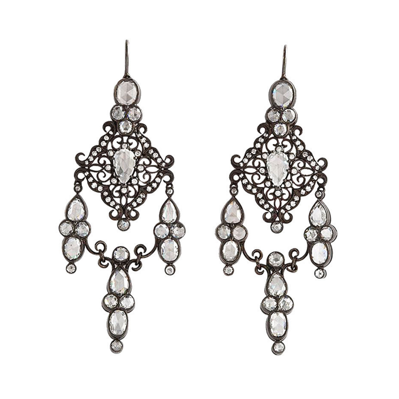 Rose cut Diamond Girandoles Earrings