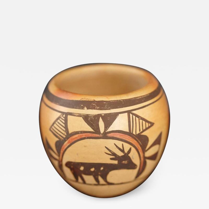 Rosetta Huma Native American Hopi Polychromed Earthenware Pot by Rosetta Huma circa 1960s
