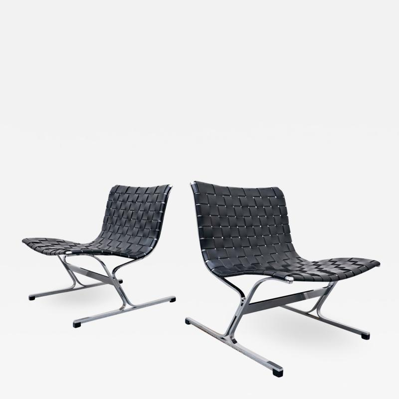 Ross F Littell Pair Of Italian Lounge Chairs By Ross Littell For ICF 1970s
