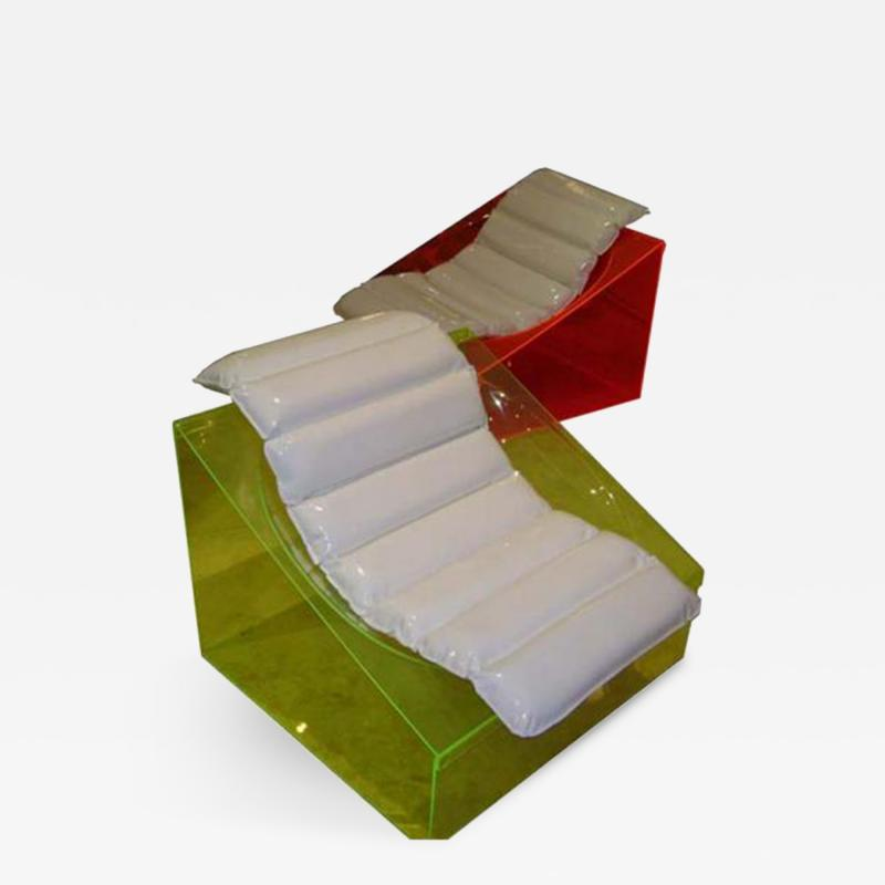 Rossi Molinari A Rare Pair of Club Chairs in Colored Plastic by Rossi Molinari for Totem