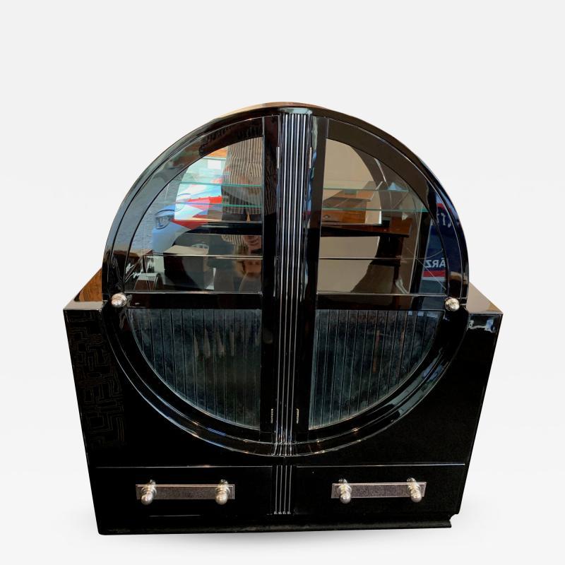 Round Art Deco Vitrine Black Lacquer France circa 1930