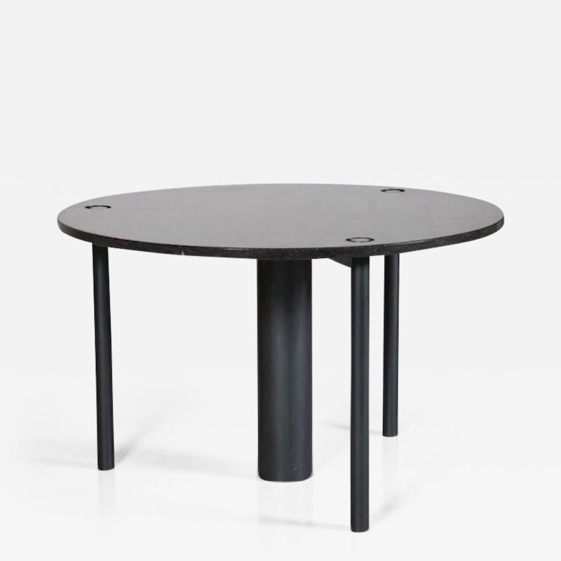 Round Black Lacquered Metal and Granite Dining Table
