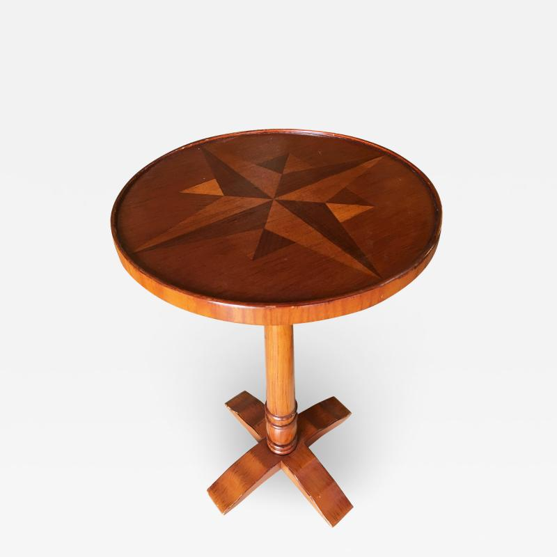 Round Oak Smokers Side Cigar Table w Inlay Top