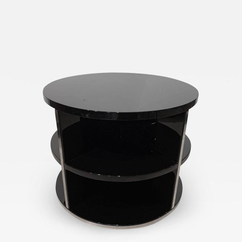 Round Restored Art Deco Sofa Table Black Lacquer and Metal France circa 1930