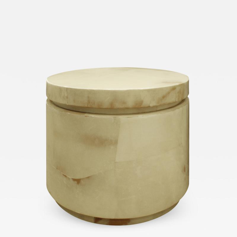Round Side Table in Goatskin 1970s