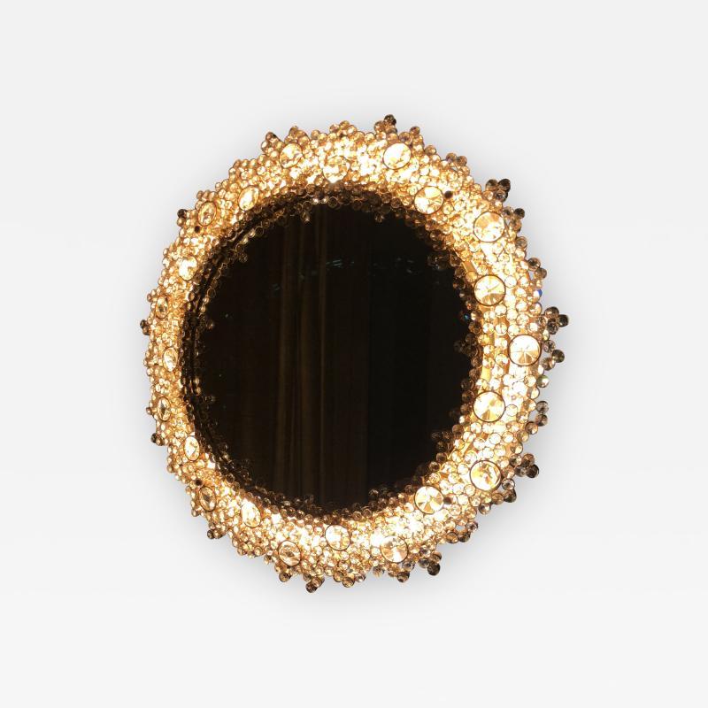Round backlit mirror with faceted Austrian Swarovski Crystals