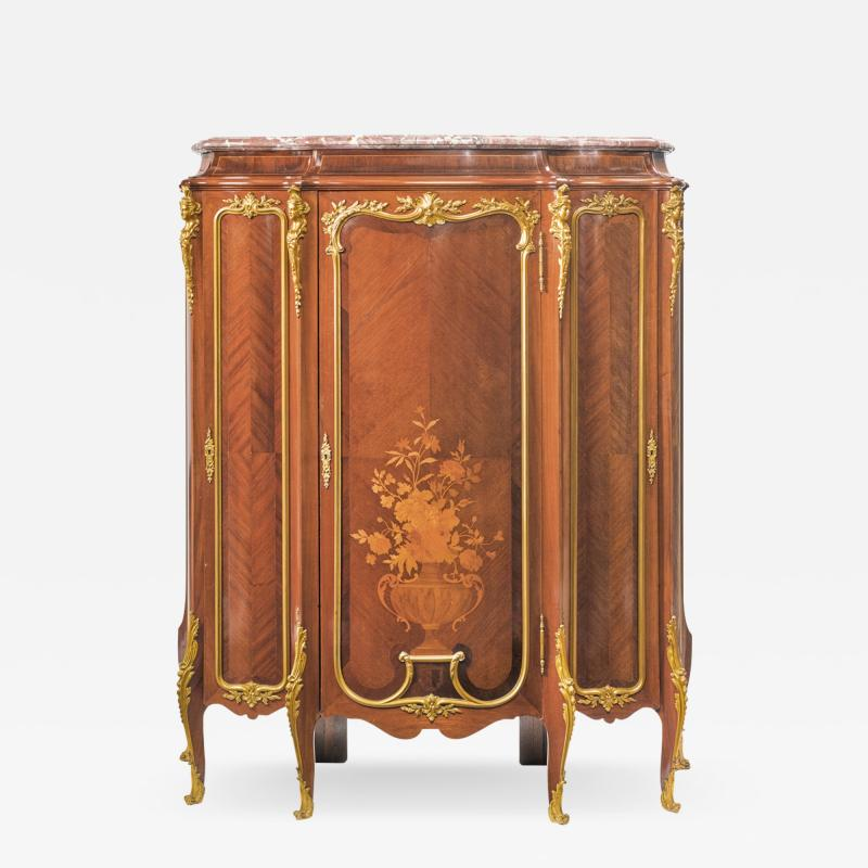 Roux et Brunet Ormolu mounted Mahogany Satin and Fruitwood Marquetry Cabinet