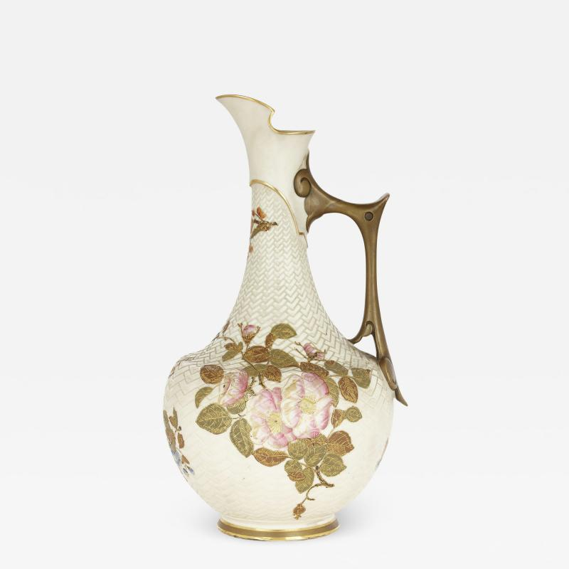 Royal Worcester Japanese style English porcelain ewer by Royal Worcester