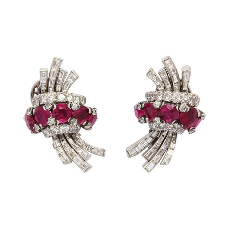 Ruby Diamond Earrings in Platinum