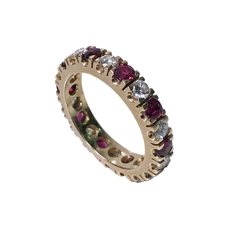 Ruby and Diamond Eternity Ring 14K