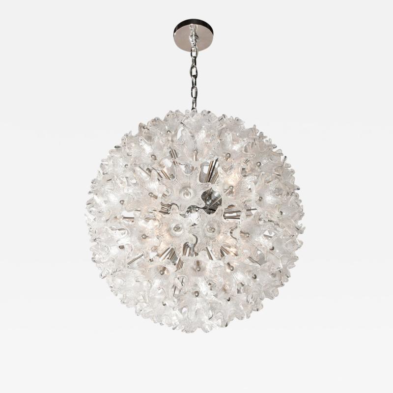 Rupert Nikoll Mid Century Modern Chrome Murano Glass Stylized Floral Sputnik Chandelier
