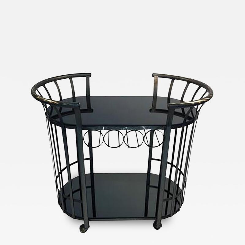 Russell Woodard Style of Russell Woodard Flat Band Steel Bar Cart