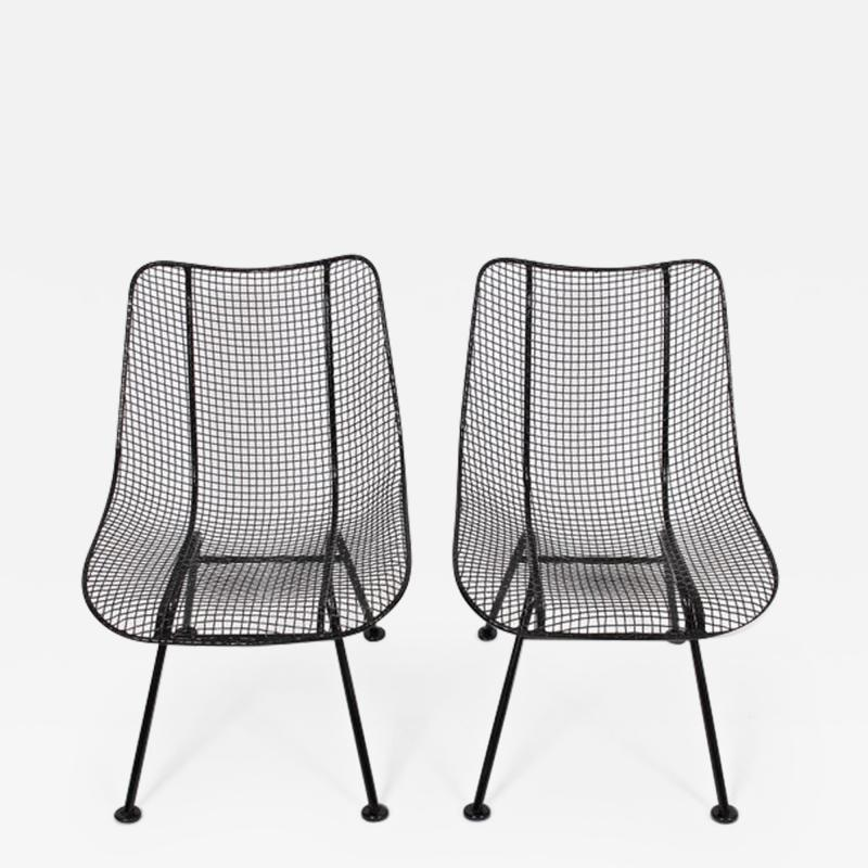 Russell Woodard Woodard Furniture Pair of Russell Woodard Black Sculptura Lanai Chairs 1950s