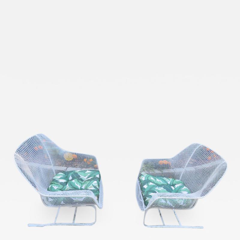 Russell Woodard Woodard Furniture Pair of Russell Woodard Sculptura Springer Patio Lounge Chairs Midcentury