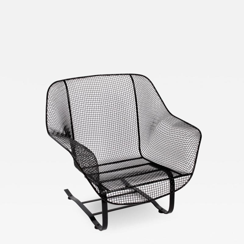 Russell Woodard Woodard Furniture Russell Woodard Black Sculptura Spring Lounge Armchair 1950s