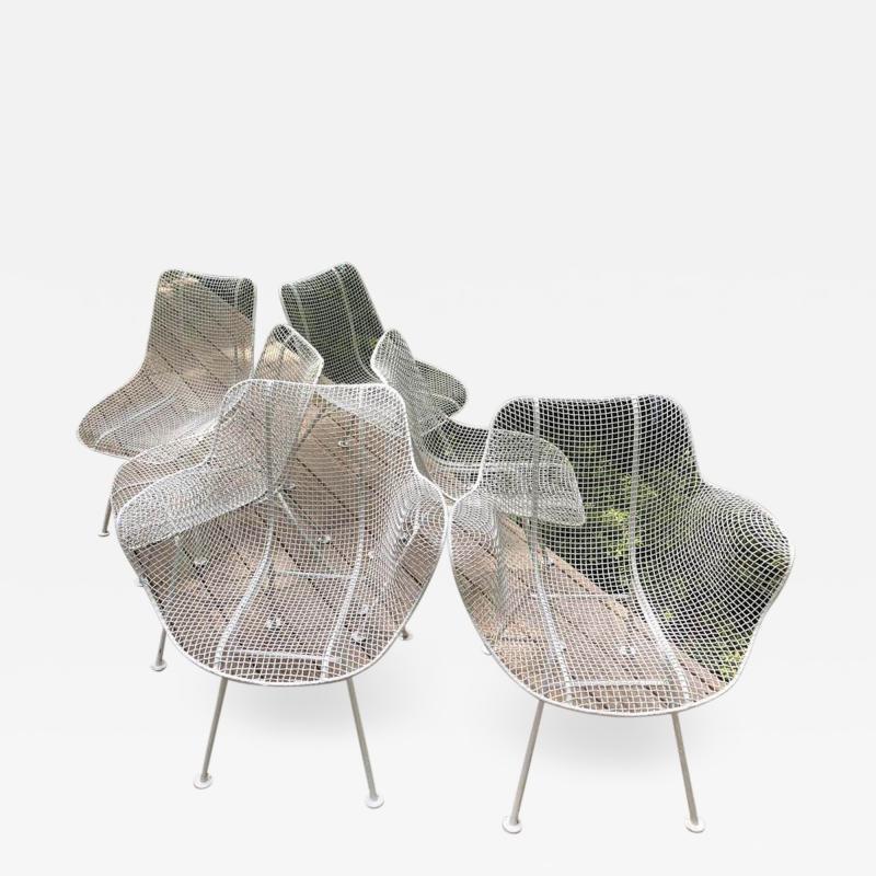 Russell Woodard Woodard Furniture Set of 6 Mid Century Modern Wire Mesh Sculptura Dining Chairs by Russell Woodard