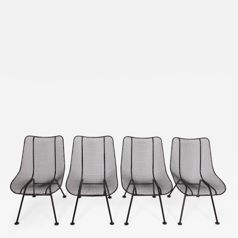 Russell Woodard Woodard Furniture Set of Four Russell Woodard Sculptura Black Lanai Side Chairs 1950s