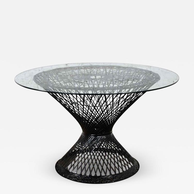 Russell Woodard Woodard Furniture Spun fiberglass round dining table with glass top attributed to russell woodard