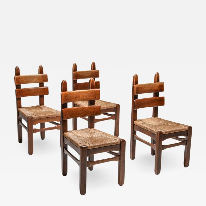 Rustic Modern Oak and Cord Chairs 1930s