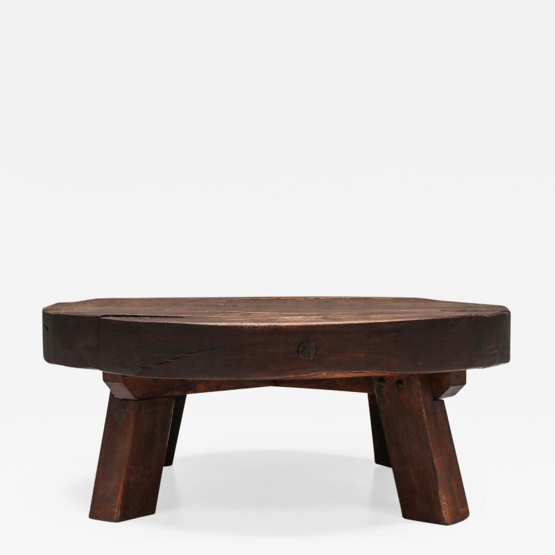 Rustic Wabi Sabi Solid Wood Coffee Table 1960s