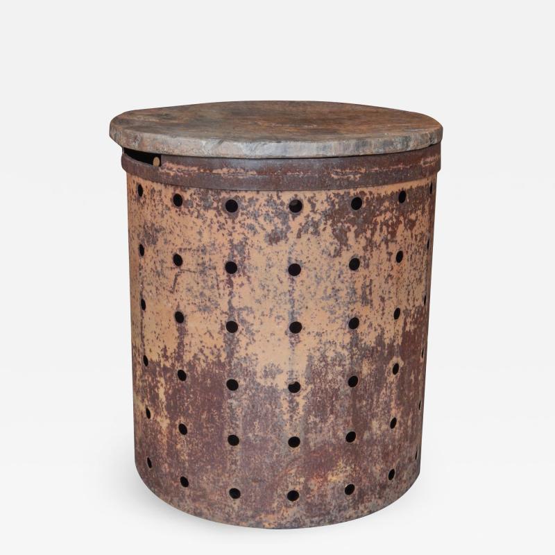 Rusty Metal Drum Table