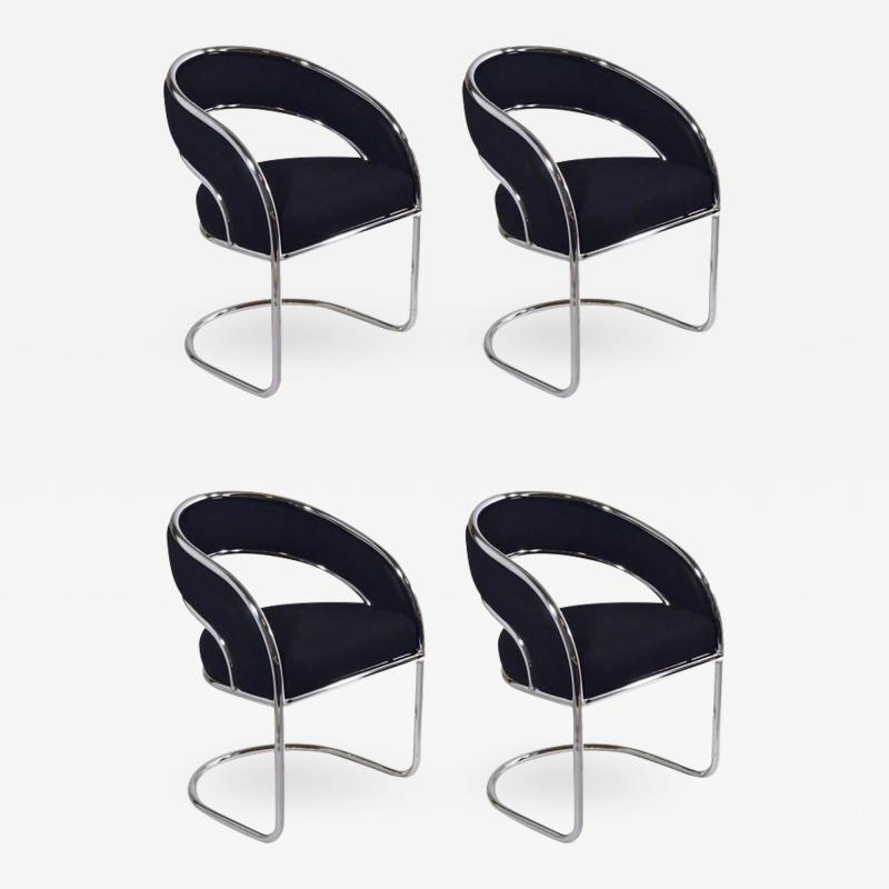 S 4 Mid Century Modern Upholstered Chrome Sling Back Chairs