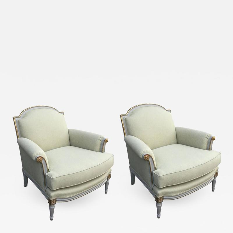 S 70 pair of elegant white painted and giltwood Louis XVI style armchairs