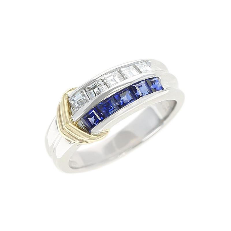 SAPPHIRE DIAMOND INVISIBLE SET WEDDING BAND WITH 2 YEL GOLD LININGS PLATINUM