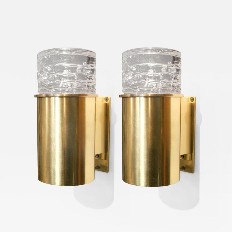 SCANDINAVIAN BRASS SCONCES WITH SOLID CRYSTAL SHADES