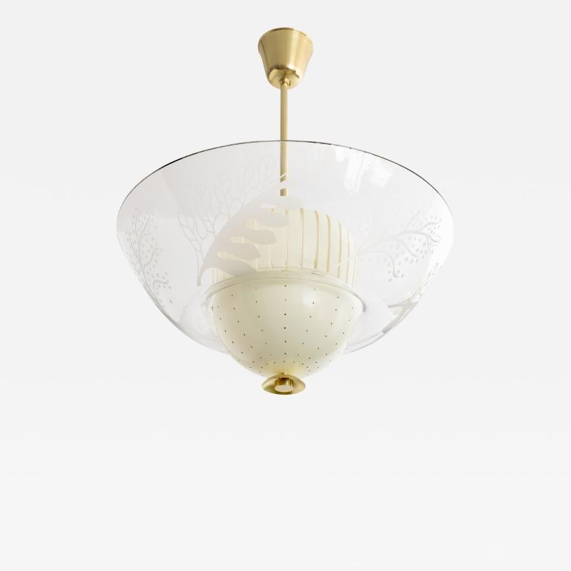SCANDINAVIAN MODERN PENDANT WITH ETCHED GLASS AND PIERCED METAL SHADES