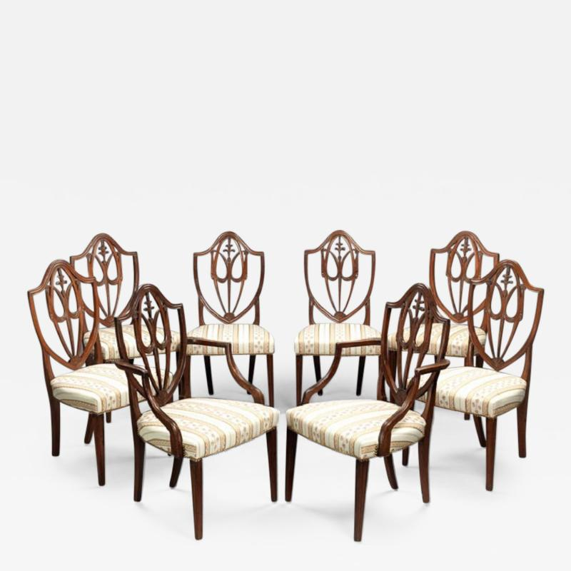 SET OF EIGHT FEDERAL SHIELD BACK DINING CHAIRS