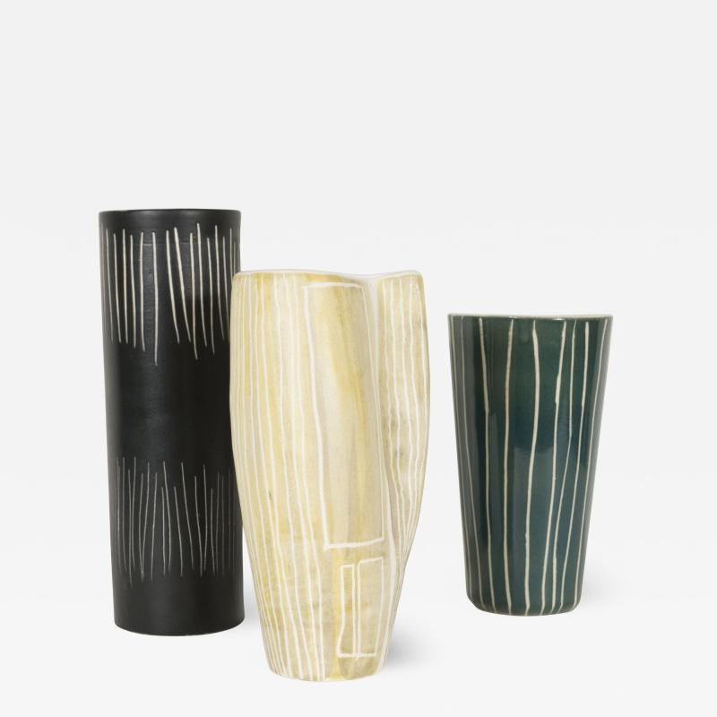SET OF THREE CERAMIC VASES